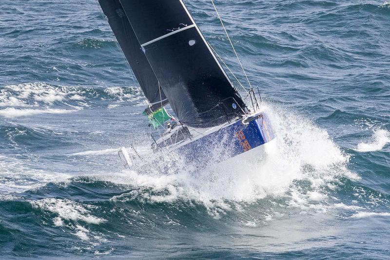Alexis Loison's yacht pounding through waves
