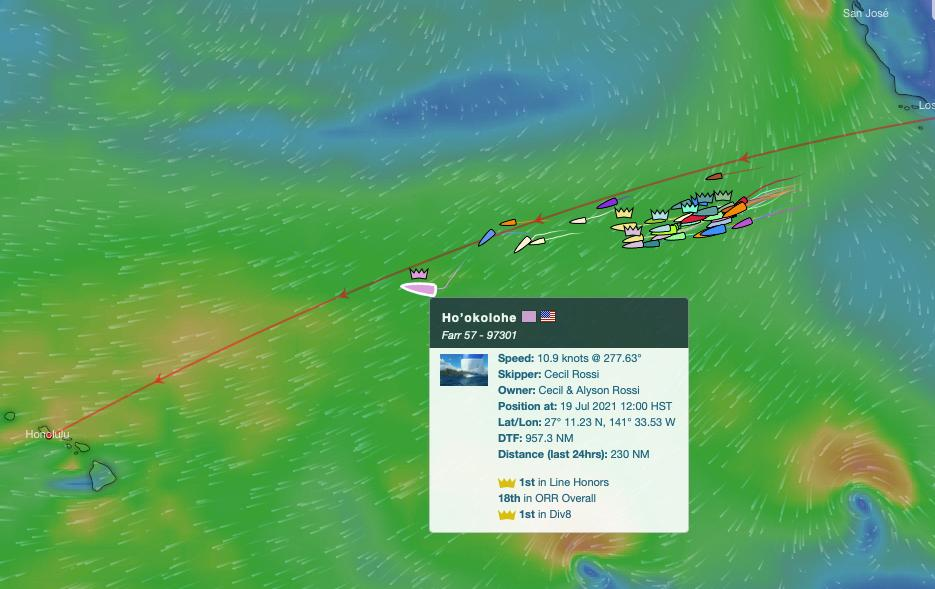 Tracker of Ho'okolohe on the race course at the halfway point