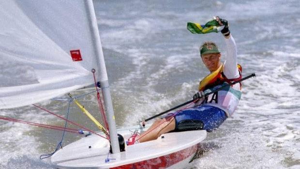 Scheidt sailing his laser