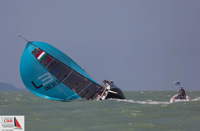 A yacht broaching