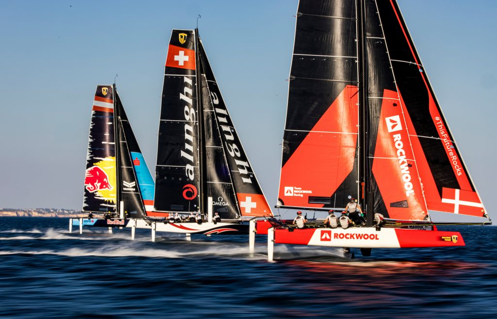 Setting off down the reach at pace. Photo: Sailing Energy / GC32 Racing Tour