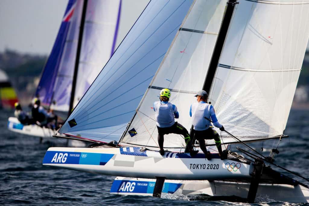 Santiago Lange and Cecilia Caranza Saroli (ARG) sailing
