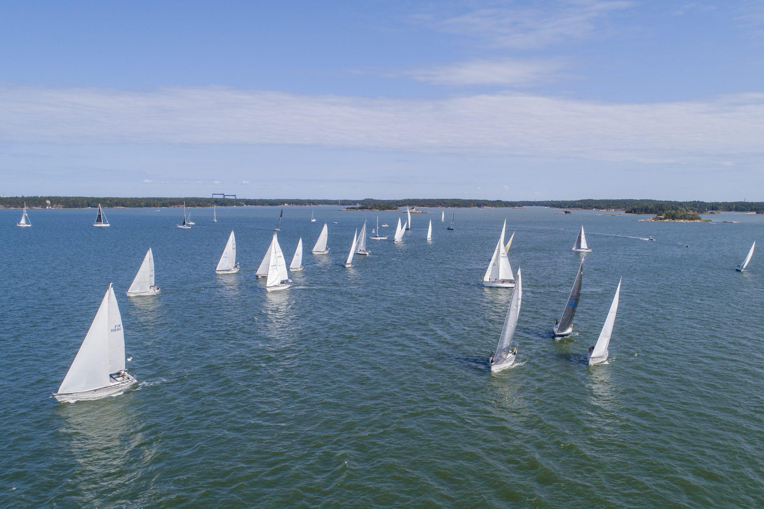 Aerial view of yacht fleet