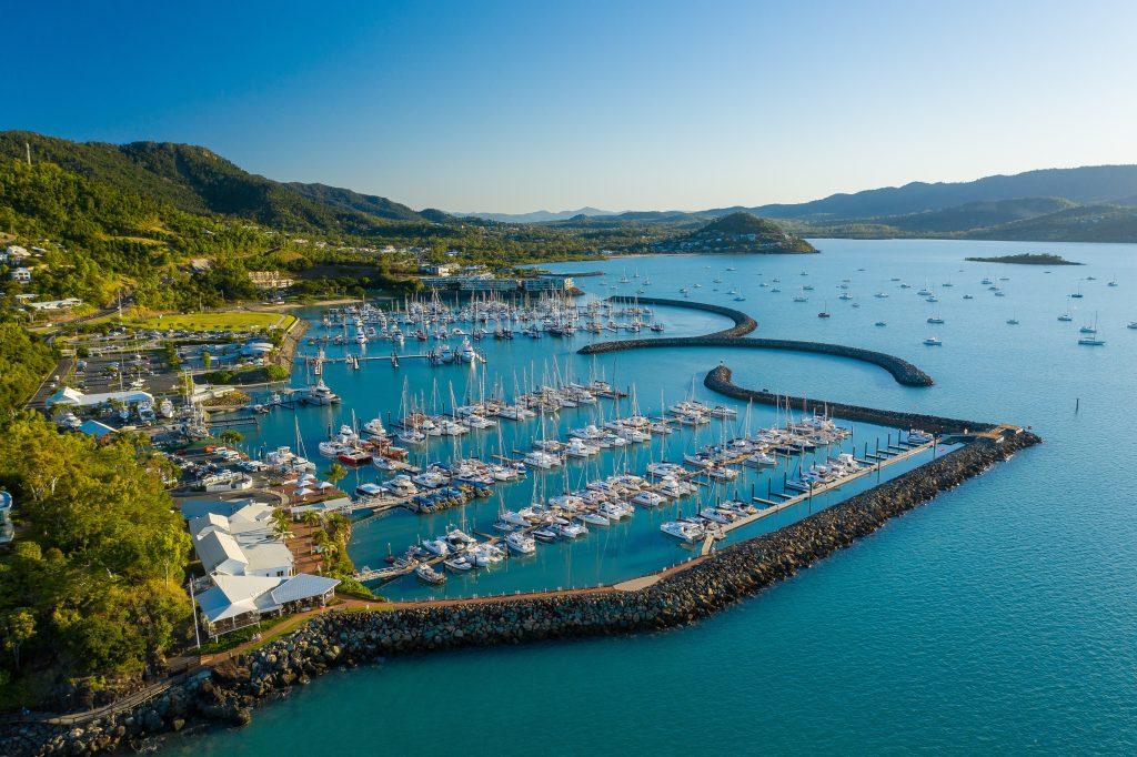 Aerial shot of Coral Sea Marina Resort