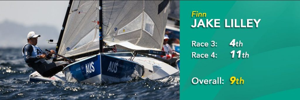 Jake Lilley is coming 9th overall in the  Finn Class