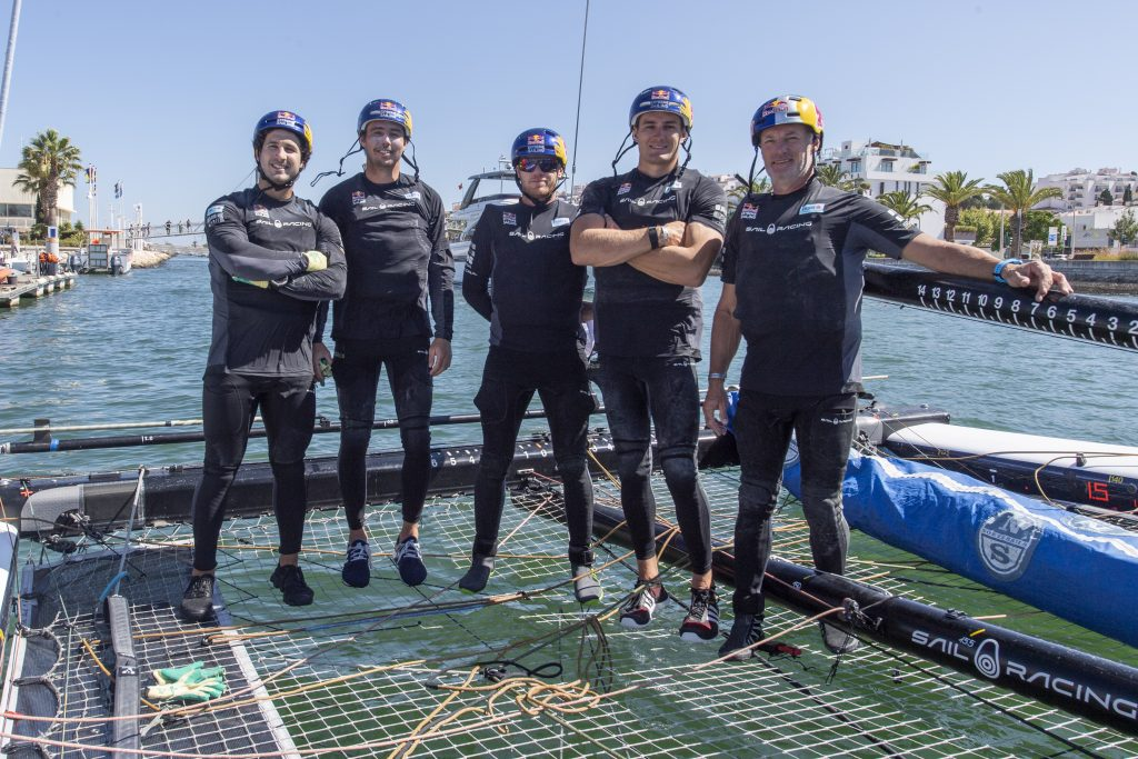 Red Bull Sailing Team's crew for the GC32 Lagos Cup 2 - Mark Spearman, Iain Jensen, Nathan Outteridge, Neil Hunter and Hans-Peter Steinacher.