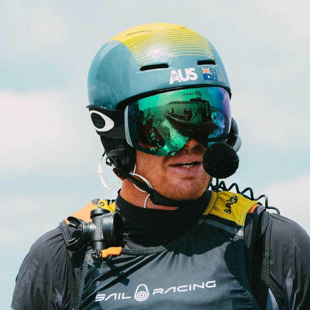 Tom Slingsby with his helmet and headset on for SailGP