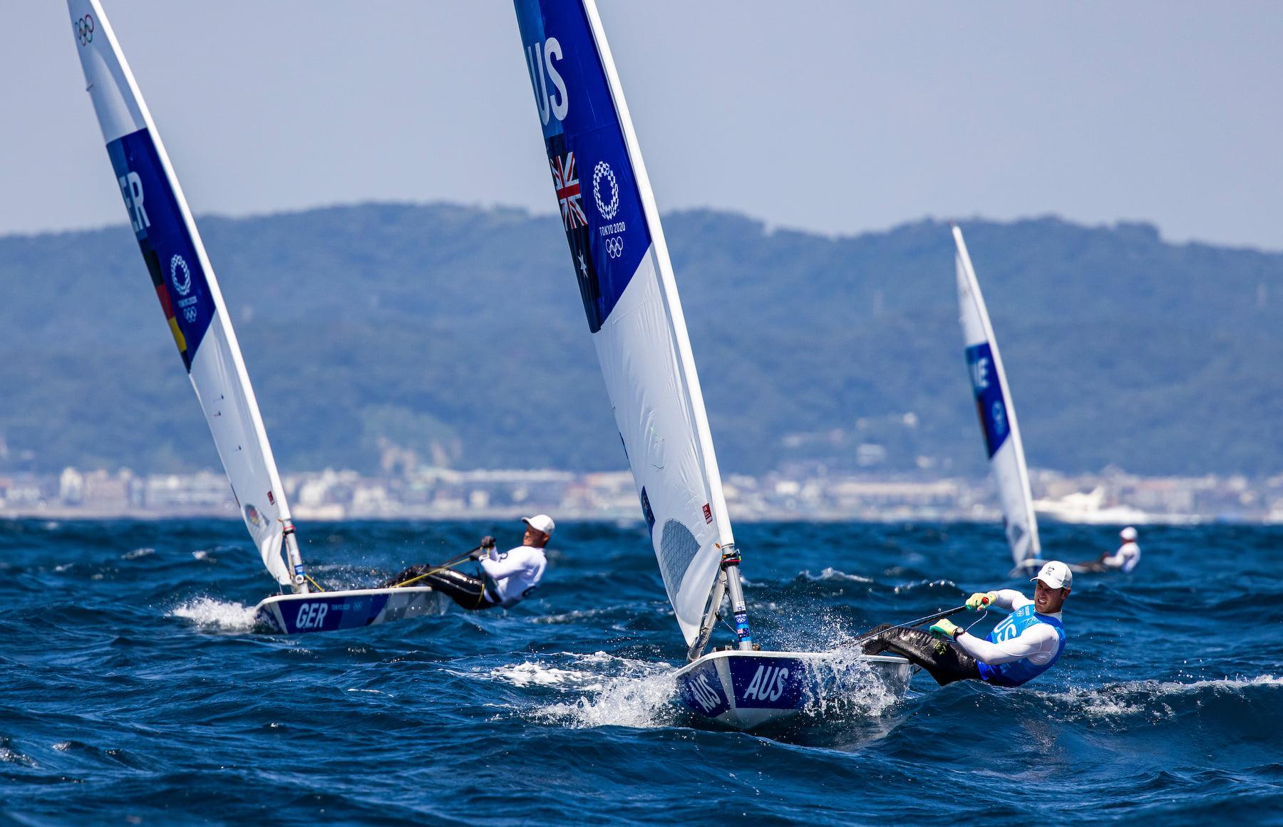 Matt Wearn sailing upwind in the laser