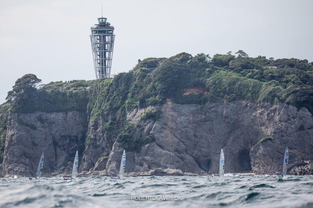 Finn fleet racing upwind