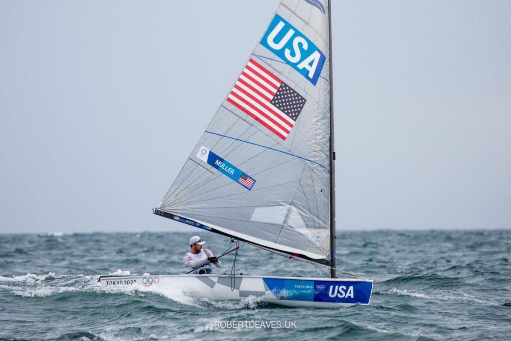 USA's Luke Muller sailing downwind