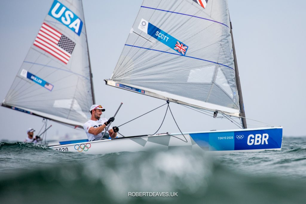 Giles Scott sailing downwind in the Finn