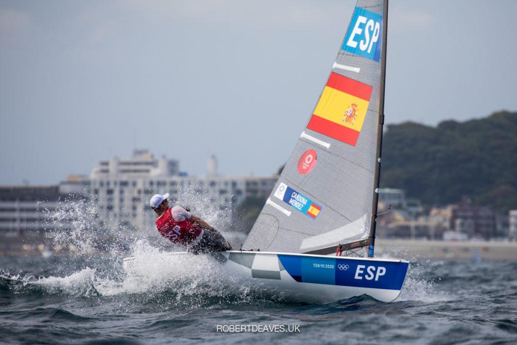 Joan Cardona (ESP) sailing upwind in the Finn