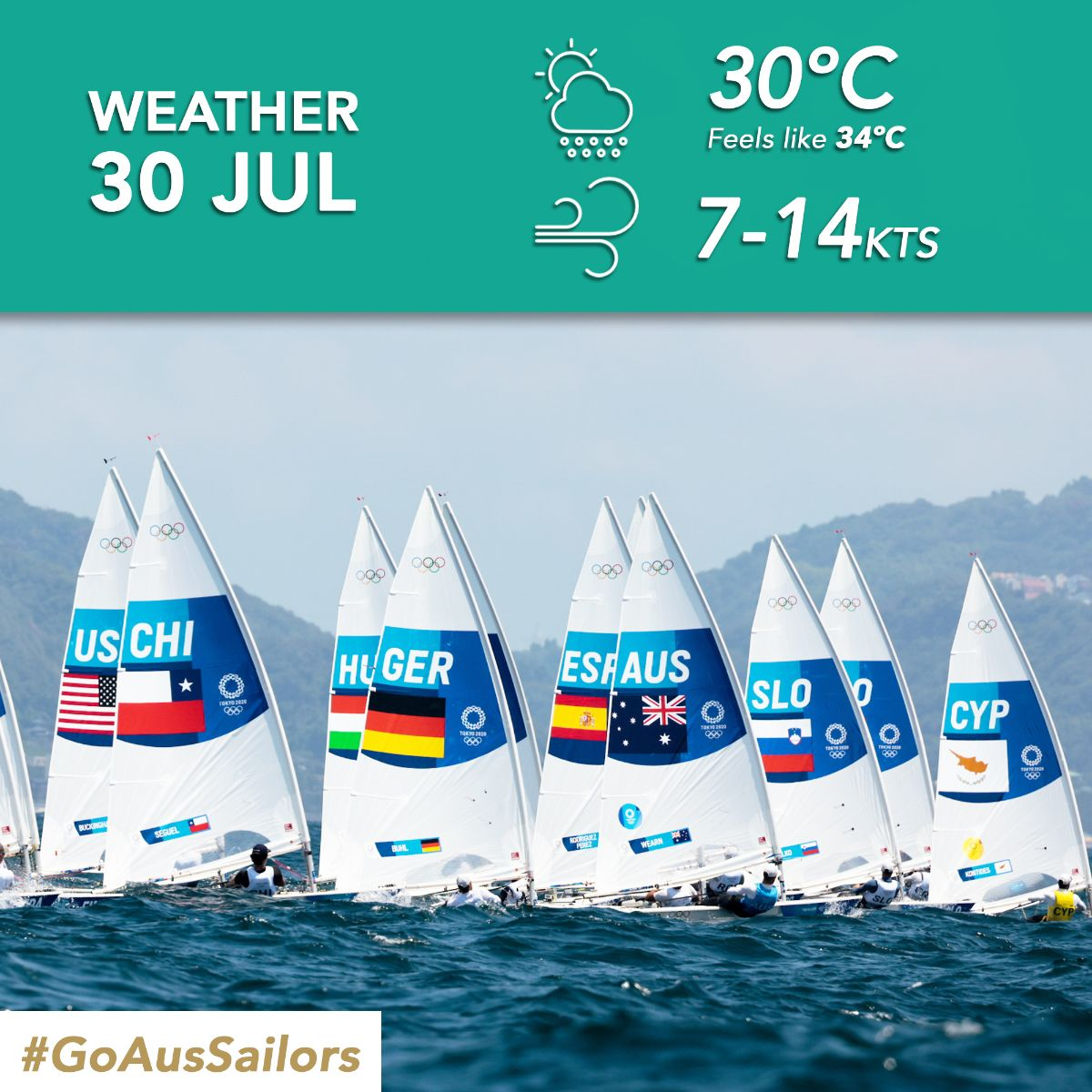 Lighter winds are forecasted for day six of the sailing competition at Enoshima.