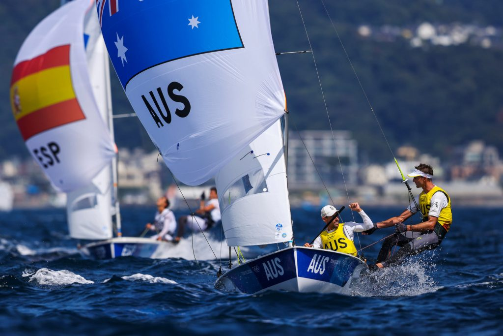 470 sailors Mat Belcher and Will Ryan celebrating their win after finishing a race