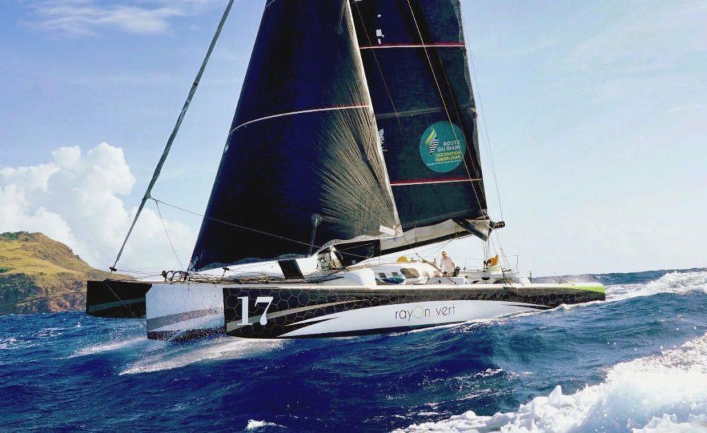 Oren Nataf's Pulsar 50 Rayon Vert sailing on a wave