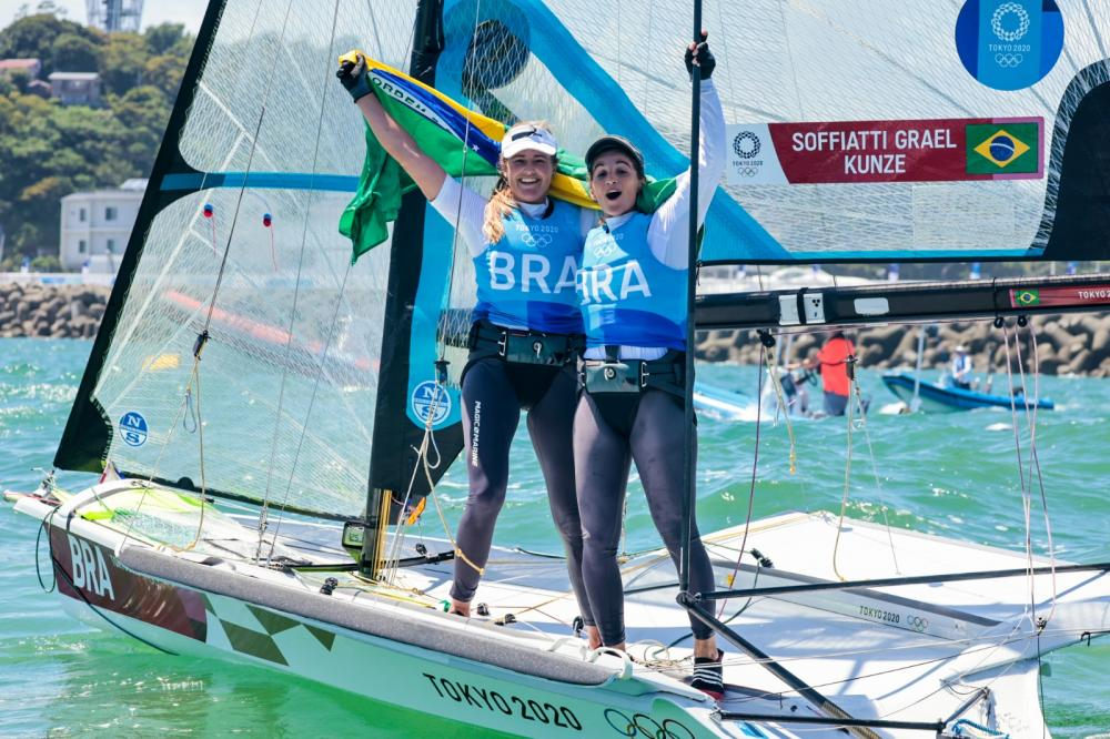 Martine Grael and Kahena Kunze (BRA) - back-to-back Olympic gold medalists in the 49erFX class.