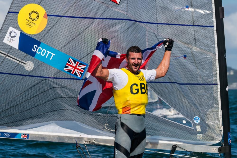 Despite being over at the race start, Giles Scott managed to climb his way back to fifth place and ultimately take home the gold medal in the Finn class.