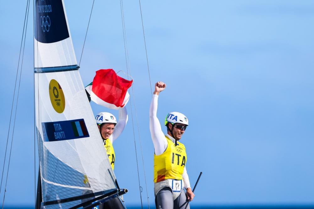 Ruggero Tita and Caterina Banti (ITA) celebrating their win