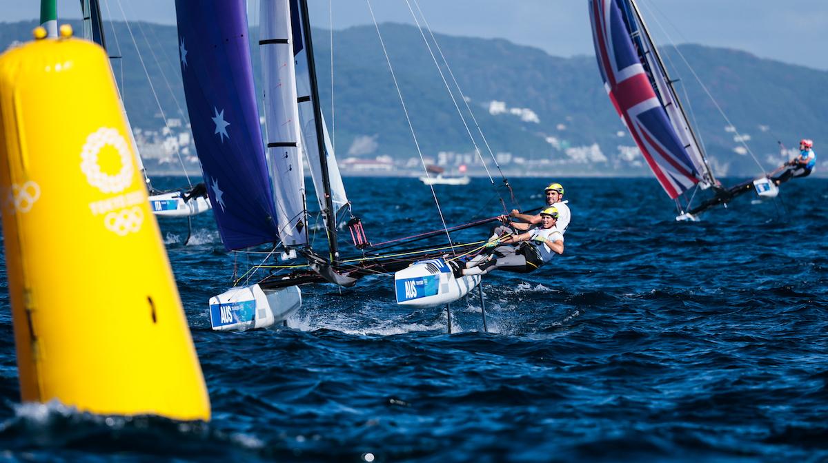 Jason Waterhouse and Lisa Darmanin sailing downwind on Nacra 17.