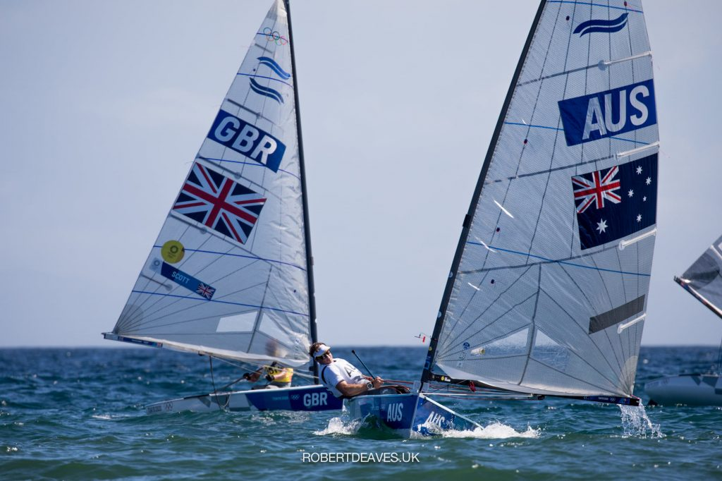 Jake Lilley sailing downwind in the Finn