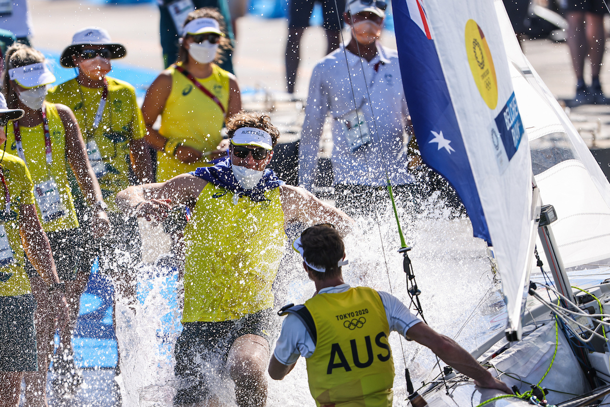 The Australian Sailing Team celebrated Mat Belcher and Will Ryan's win in the 470 class.