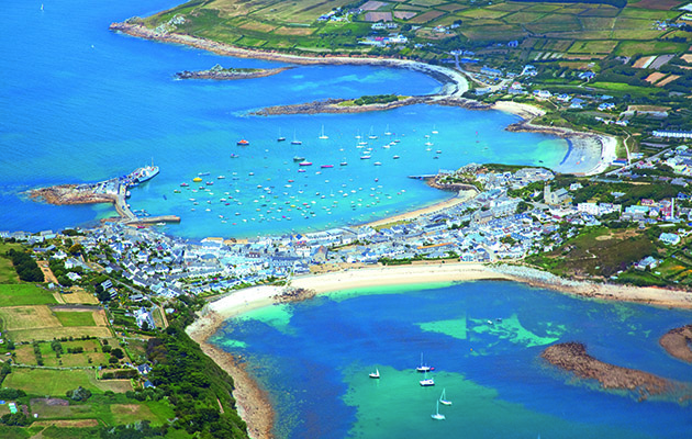 Aerial shot of Hugh Town (the main harbour in the Isles of Scilly)