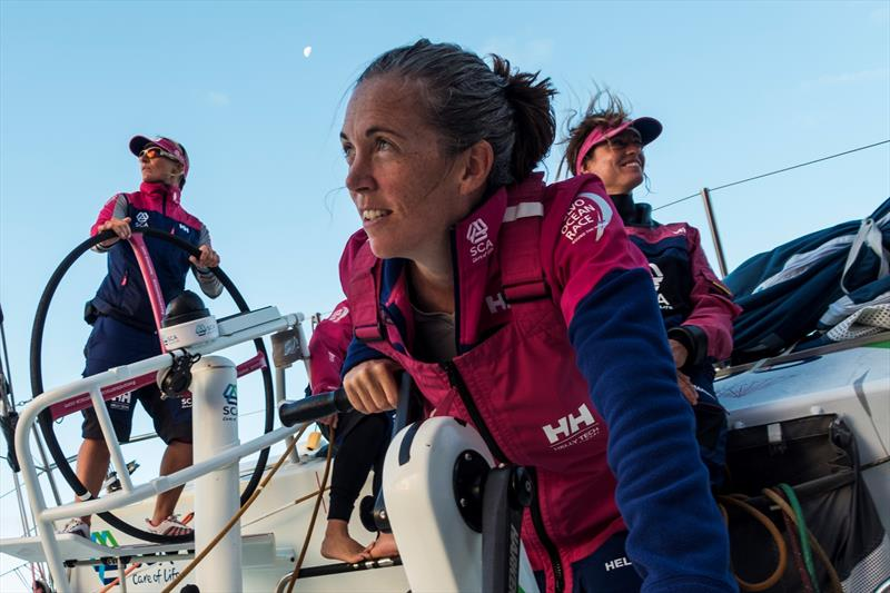 Volvo Ocean Race sailor Libby Greenhalgh on a winch