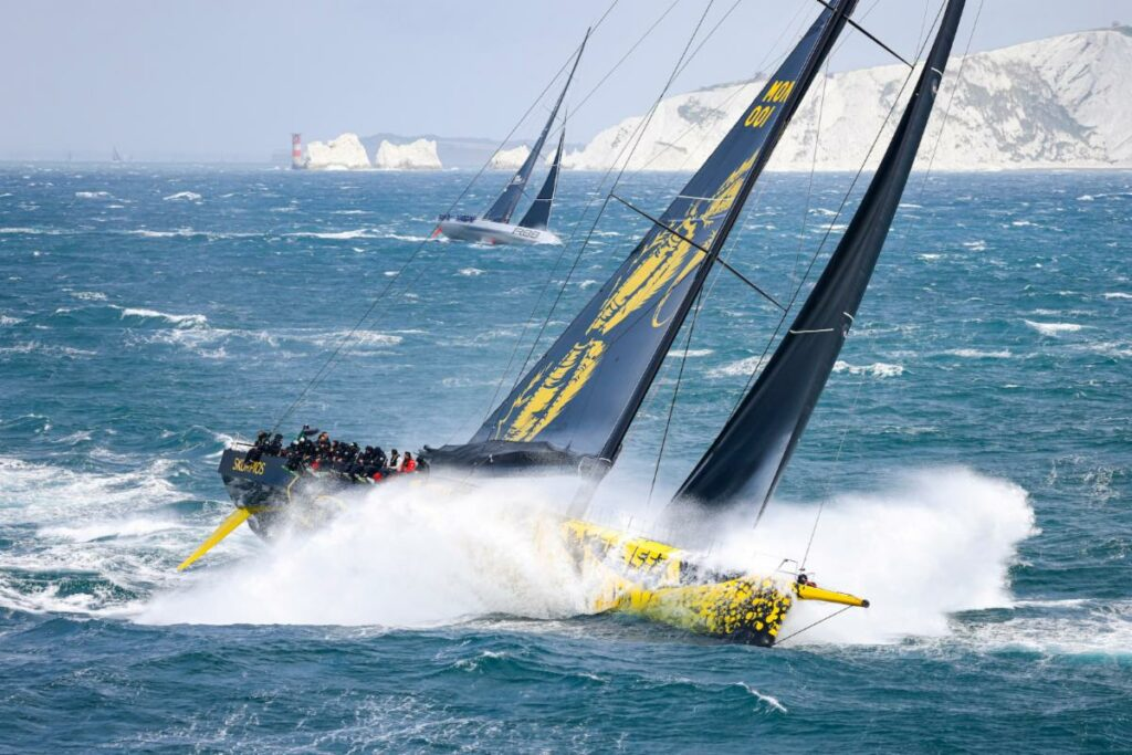 Dmitry Rybolovlev's ClubSwan 125 Skorpios and George David's Maxi Rambler 88 beating into the English Channel