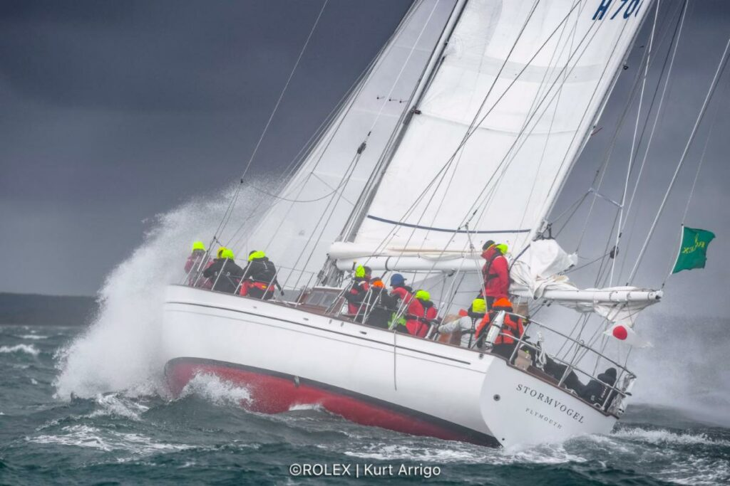 The classic 74ft 1961 ketch Stormvogel, skippered by Graeme Henry, smashes to windward after the start