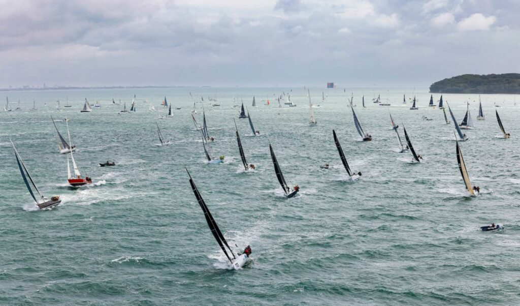 A fleet of 337 boats leave the Solent, bound for the Fastnet Rock in the 2021 Rolex Fastnet Race