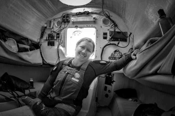 Lisa Blair inside her boat