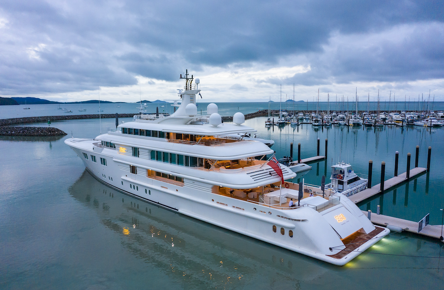 The superyacht Lady E at Coral Sea Marina