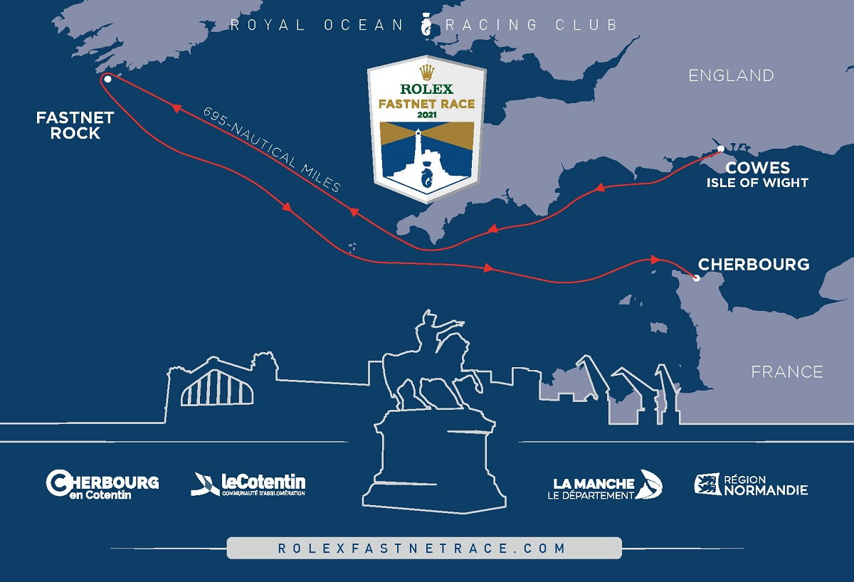 The 2021 Rolex Fastnet Race course map.