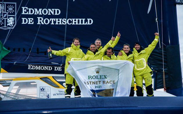 Maxi Edmond De Rothschild celebrating line honours