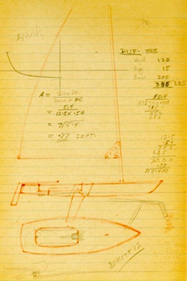 Croquis de conception laser original de Bruce Kirby.