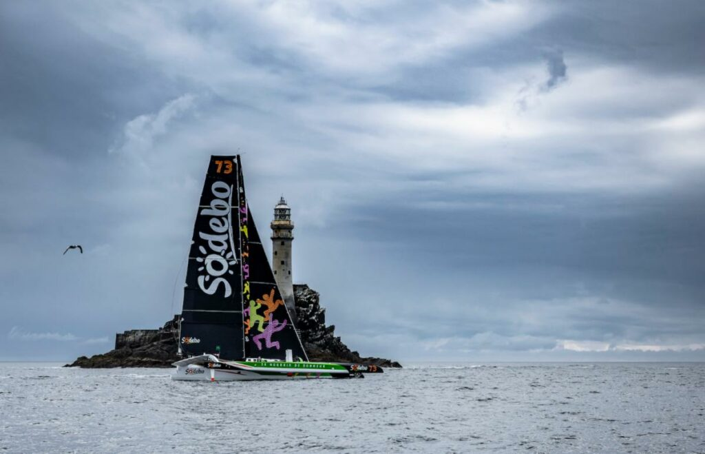Thomas Coville's Sodebo Ultim 3 rounding Fastnet Rock