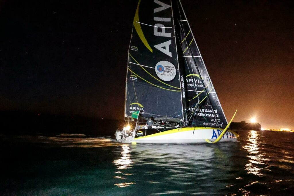 Apivia - first IMOCA to finish the Rolex Fastnet Race.