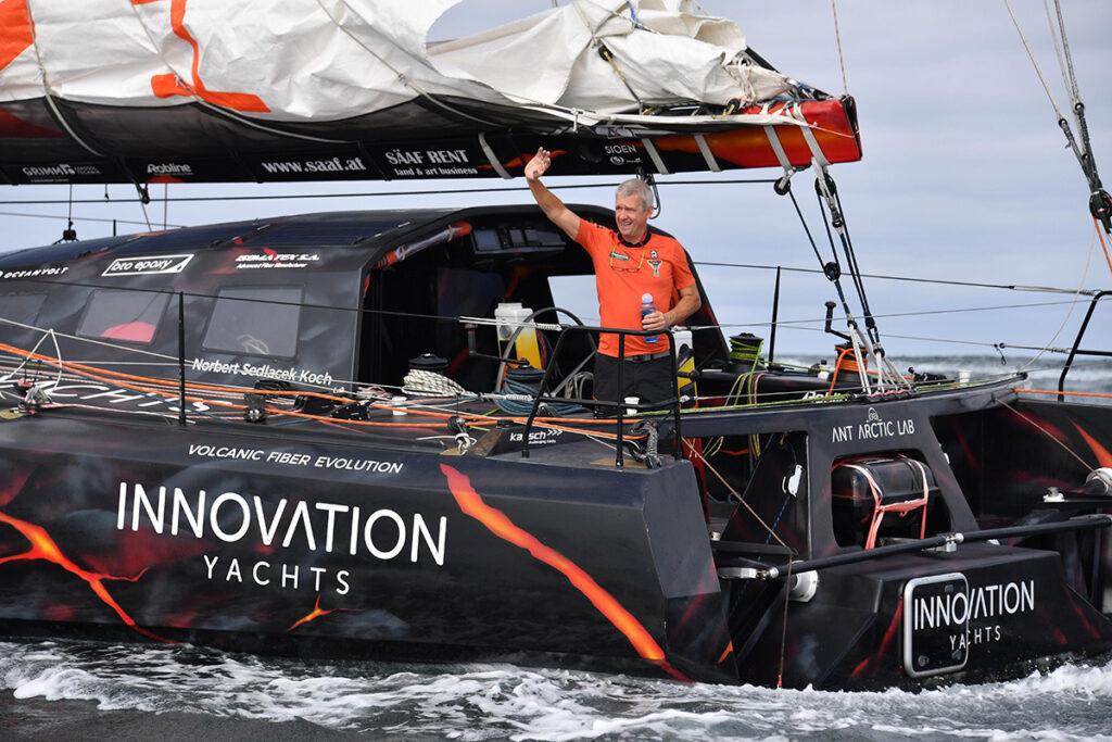 Norbert Sedlacek waving as he sets off on his voyage