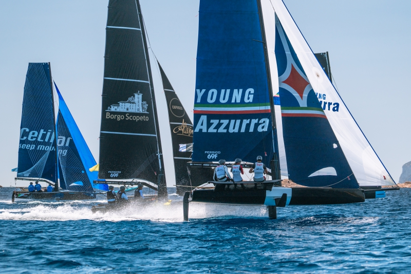 Young Azzurra racing during the Grand Prix 2 Persico 69F in Sardinia.