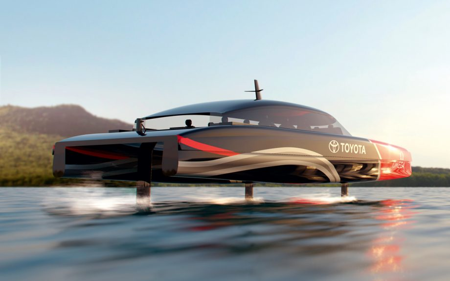 This computer rendering shows what Emirates Team New Zealand's hydrogen powered foiling chase boats might look like