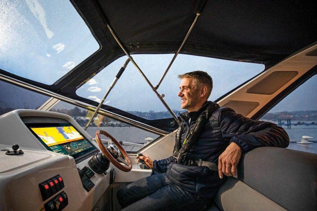 A boat driver using Volvo Penta