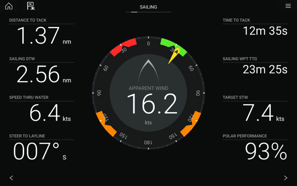 Raymarine screen with with speed, distance, knots, etc.