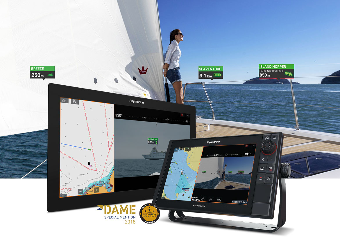 Woman sailing with the aid of Raymarine products