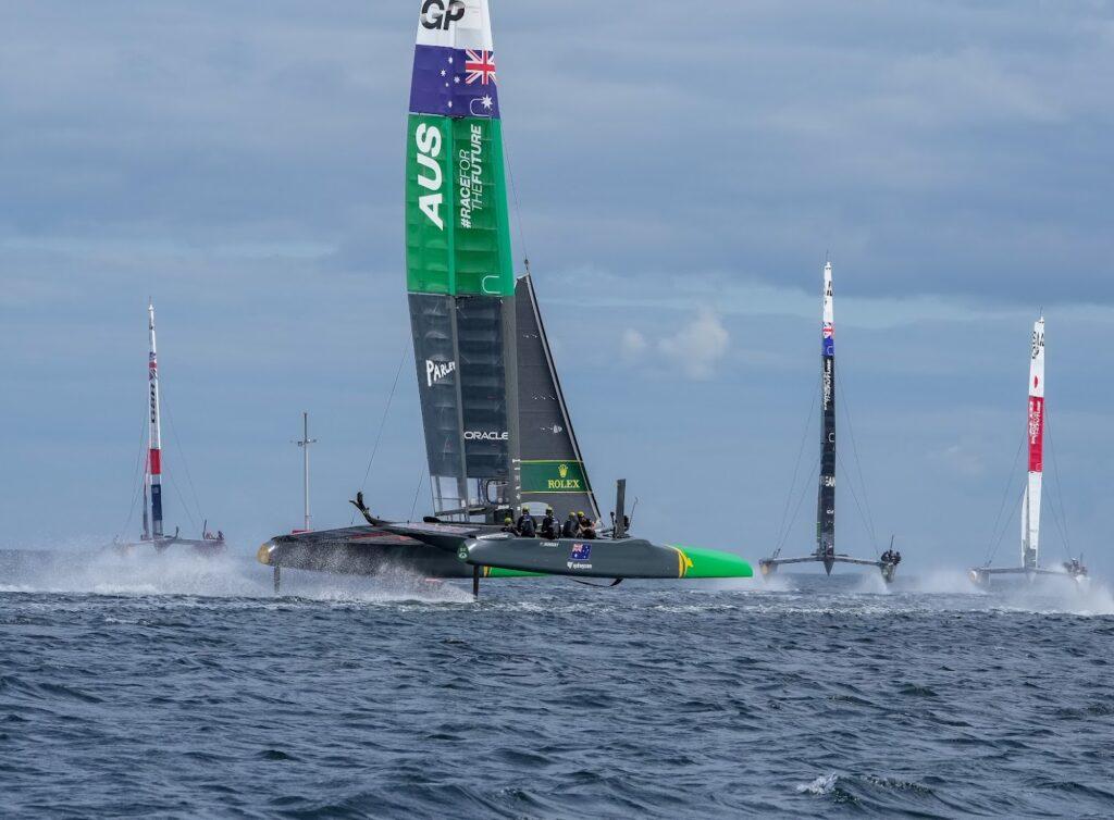 Australia SailGP Team helmed by Tom Slingsby in action during SailGP training at Aarhus.