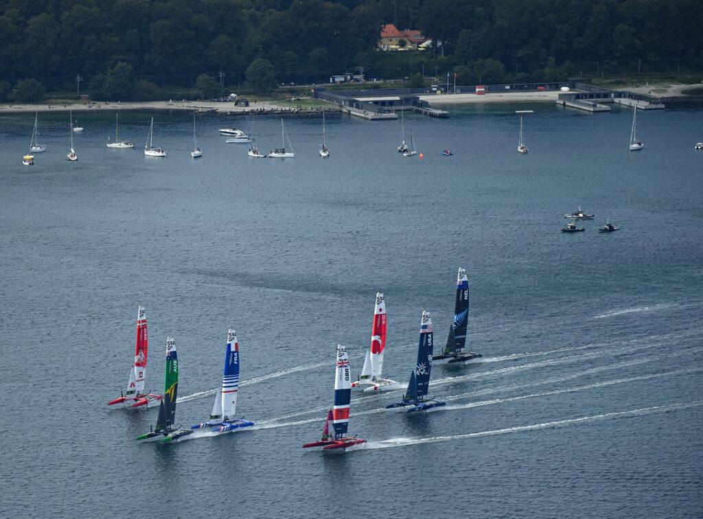 The SailGP fleet warming up ahead of Race Day 1 Denmark SailGP, Event 4, Season 2 in Aarhus, Denmark 20 August 2021.