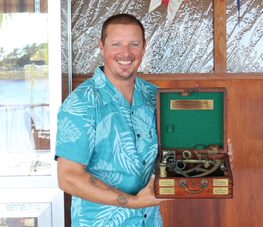 Mikmaks Navigator Jesse Osborn with the Mark Rudiger Award.