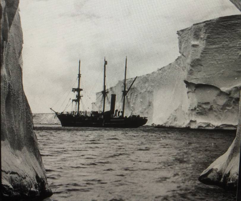 Framed by an ice cavern: The Aurora in Antarctica in 1913.