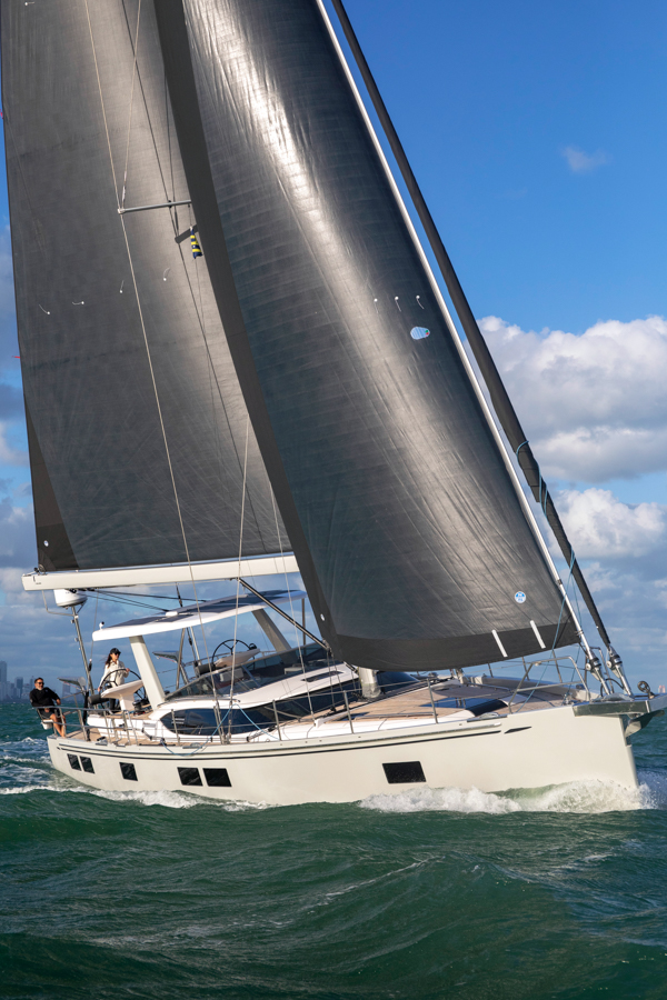 Hylas 57 sailing in Miami Florida.