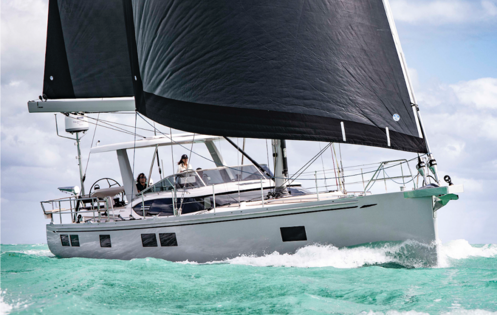 The new Hylas H57 sailing on a reach in crystal clear waters
