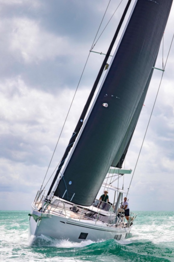 The Hylas 57 sailing upwind